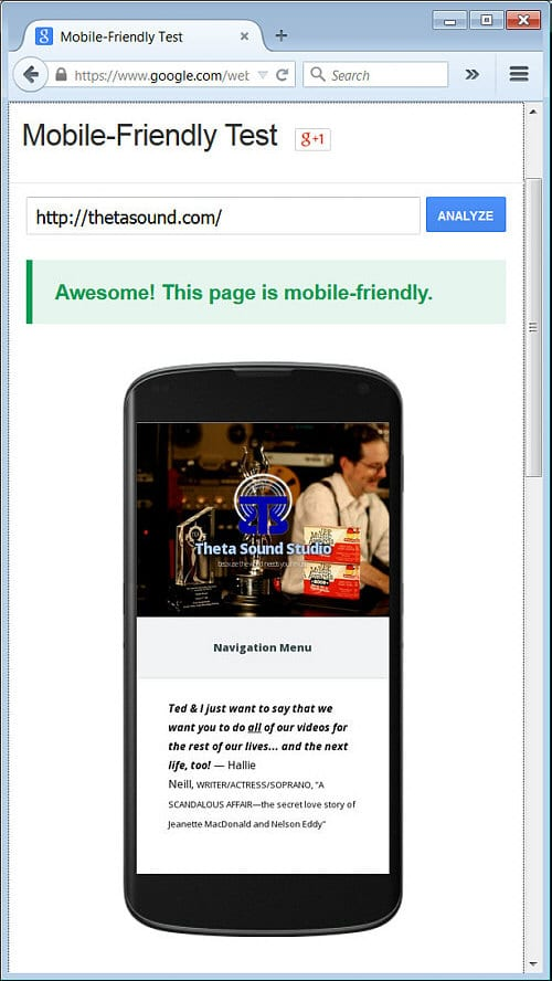 Theta Media Group Blog Tobin's Two-Minute Tips Google Mobile Friendly Test Results