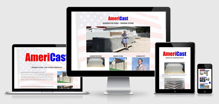 Theta Media Group Client Website Showcase | AmeriCast | Pre-Cast Generator Pads