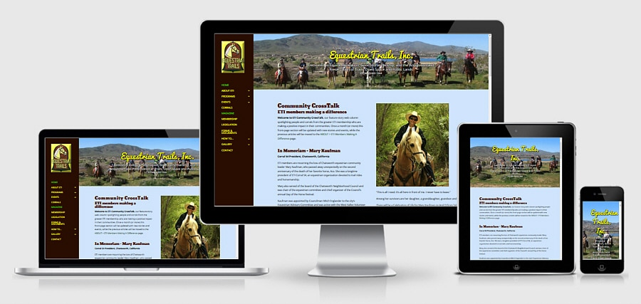 Theta Media Group Client Website Showcase | Equestrian Trails, Inc. | Membership Association