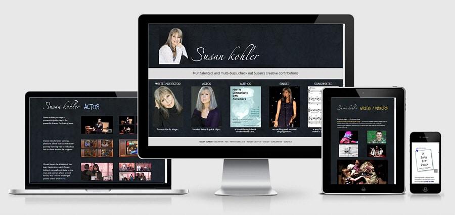 Theta Media Group Client Website Showcase | Susan Kohler | Writer/Director/Actor