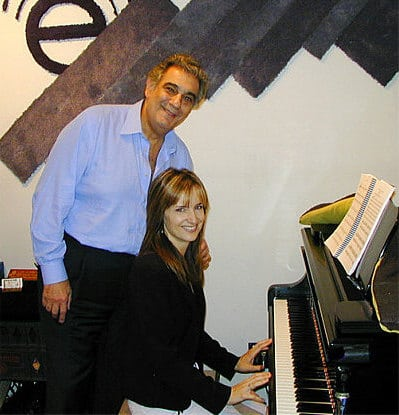 Placido Domingo and Catherine Miller at Theta Sound Studio, Theta Media Group, Website Design, Branding and E-Commerce